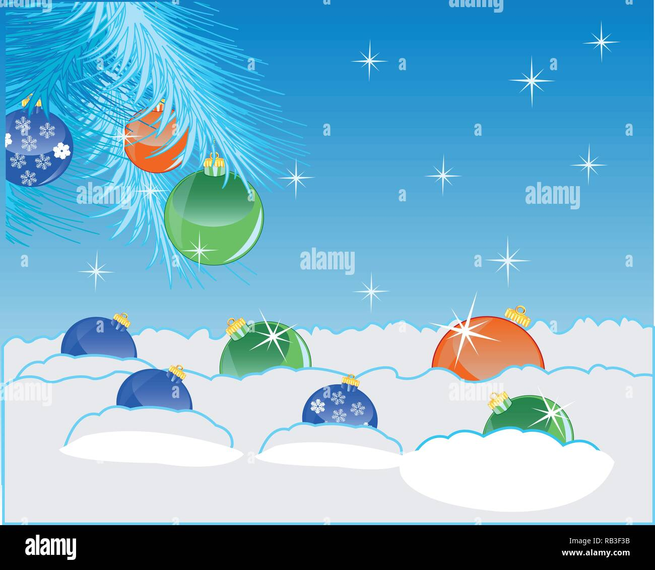 Festive new years background with snow and toy - Stock Image