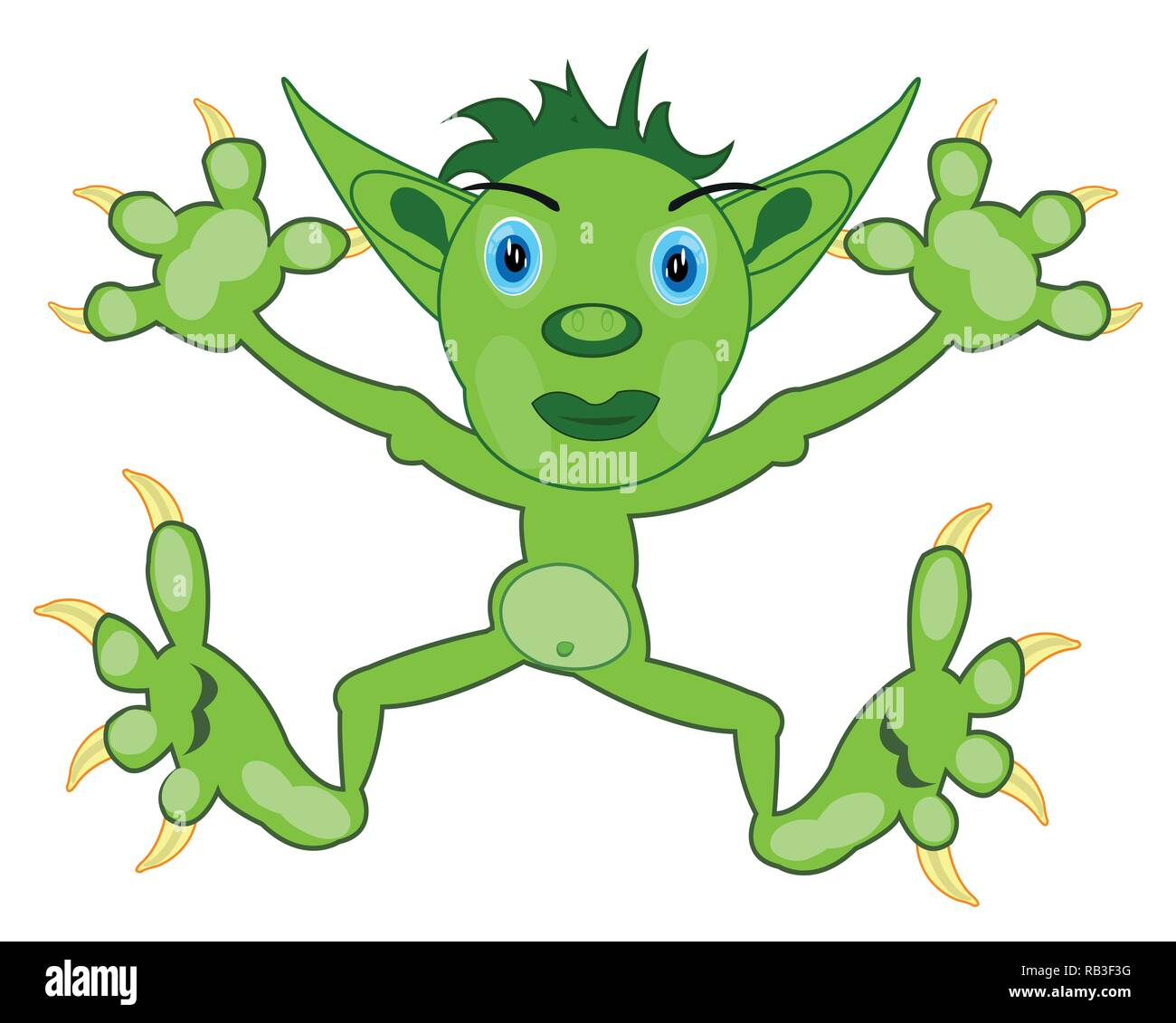 Vector illustration of the cartoon of the green crock - Stock Image