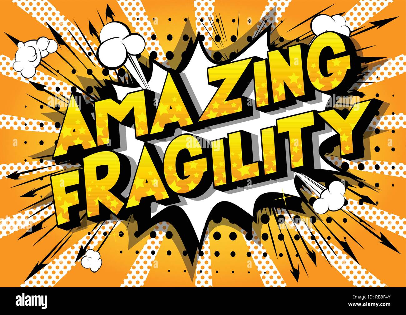 Amazing Fragility - Vector illustrated comic book style phrase on abstract background. - Stock Vector