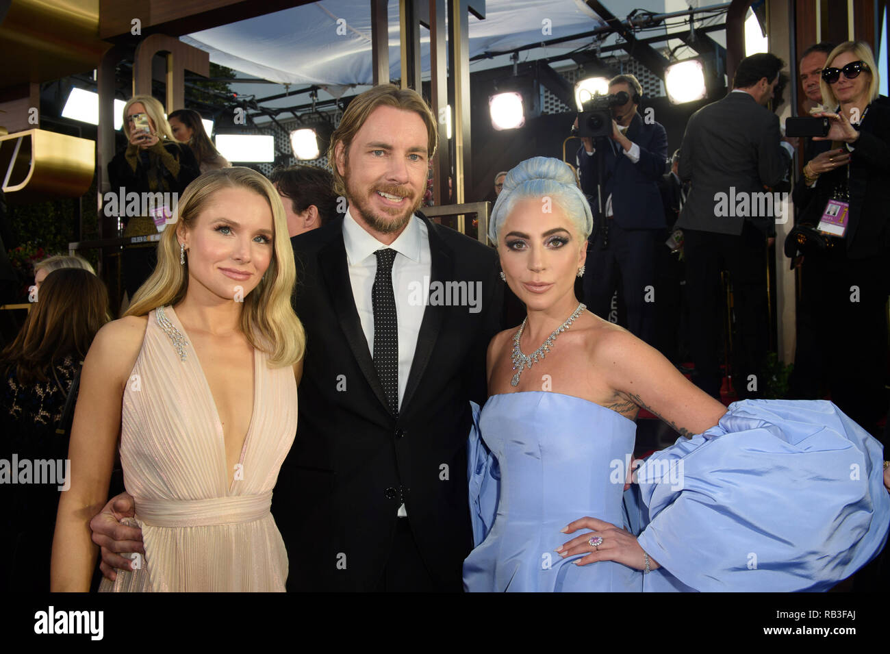 Golden Globe nominee, Kristen Bell, Dax Shepherd and Golden Globe nominee, Lady Gag arrive at the 76th Annual Golden Globe Awards at the Beverly Hilton in Beverly Hills, CA on Sunday, January 6, 2019. - Stock Image