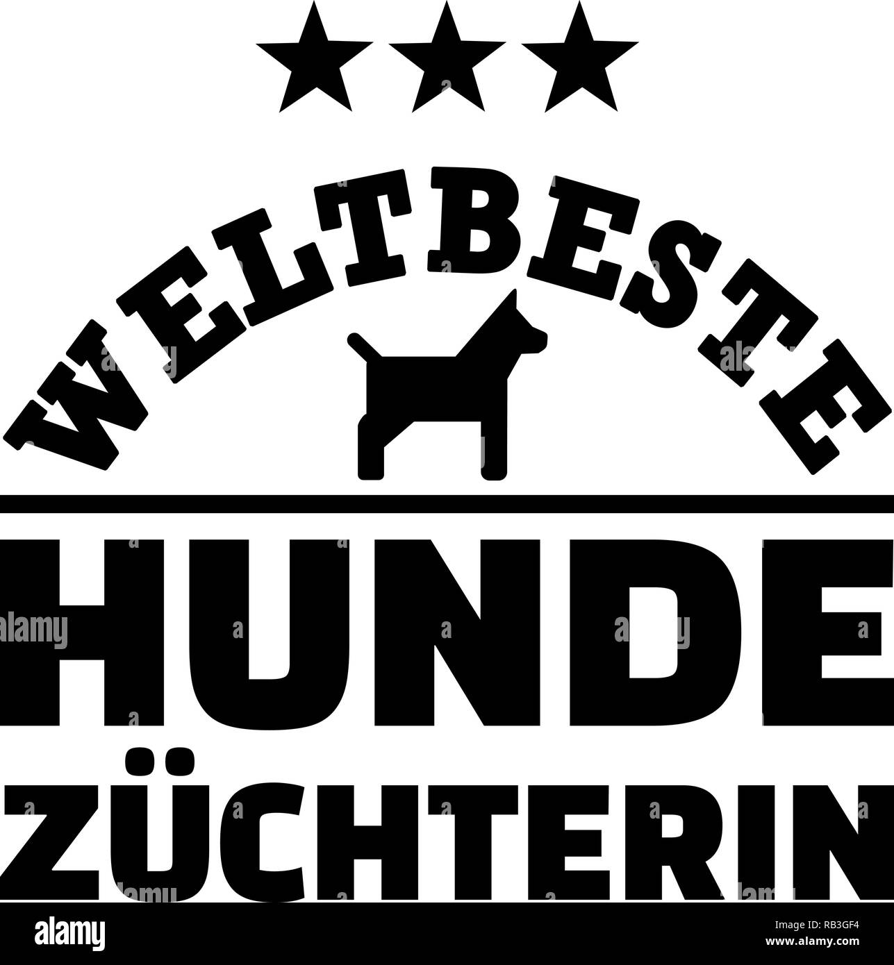 Worlds best female dog breeder german with dog silhouette - Stock Image