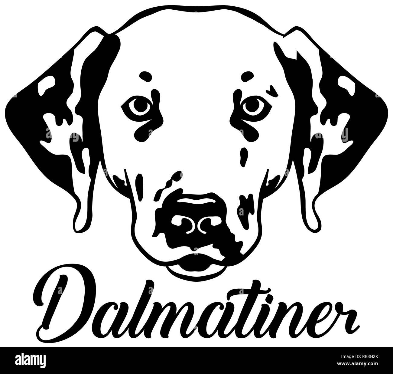 Dalmatian face with german word - Stock Vector