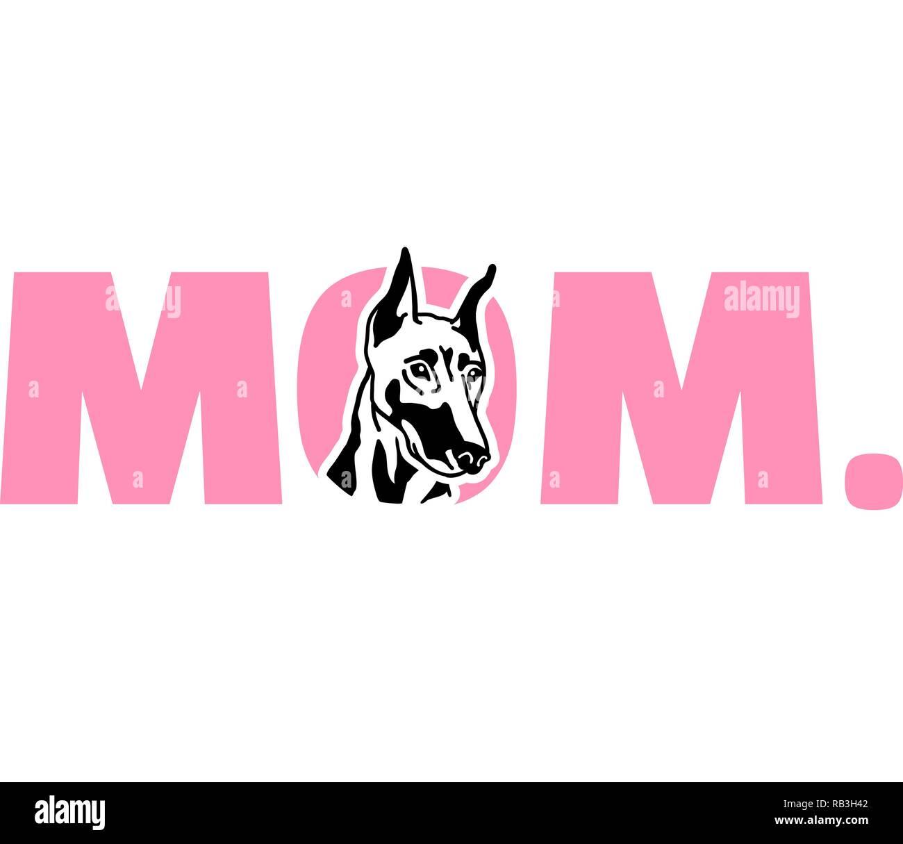 Doberman best mom ever slogan - Stock Vector