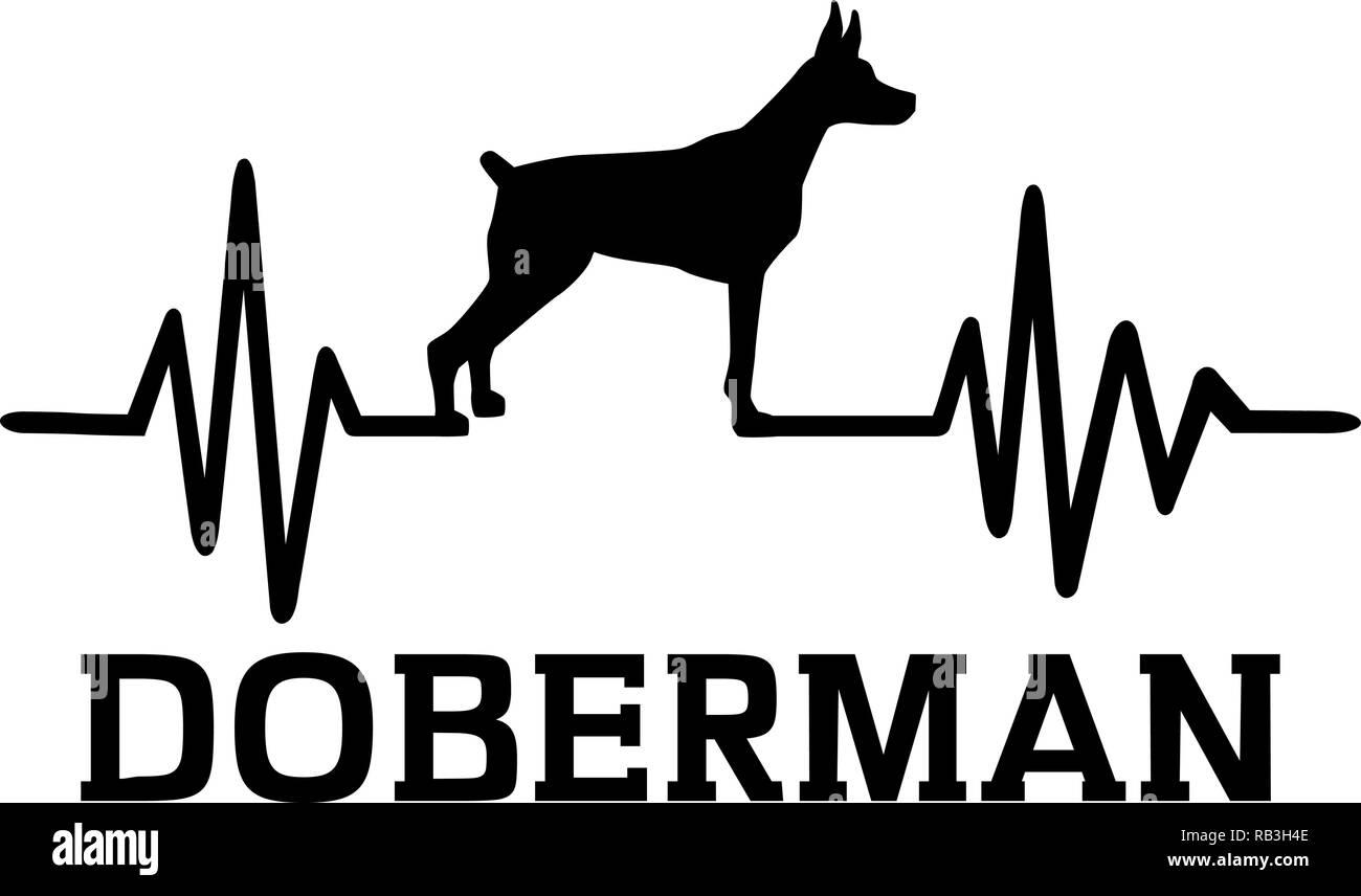 Heartbeat pulse line with Doberman dog silhouette - Stock Vector