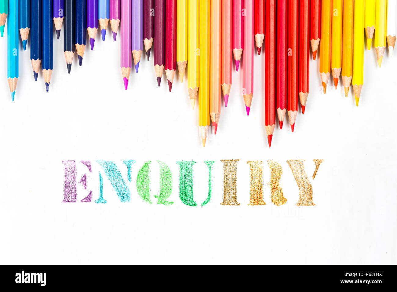 Enquiry drawing by colour pencils - Stock Image