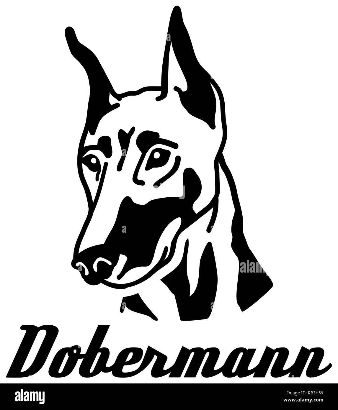 Doberman face with german word - Stock Vector