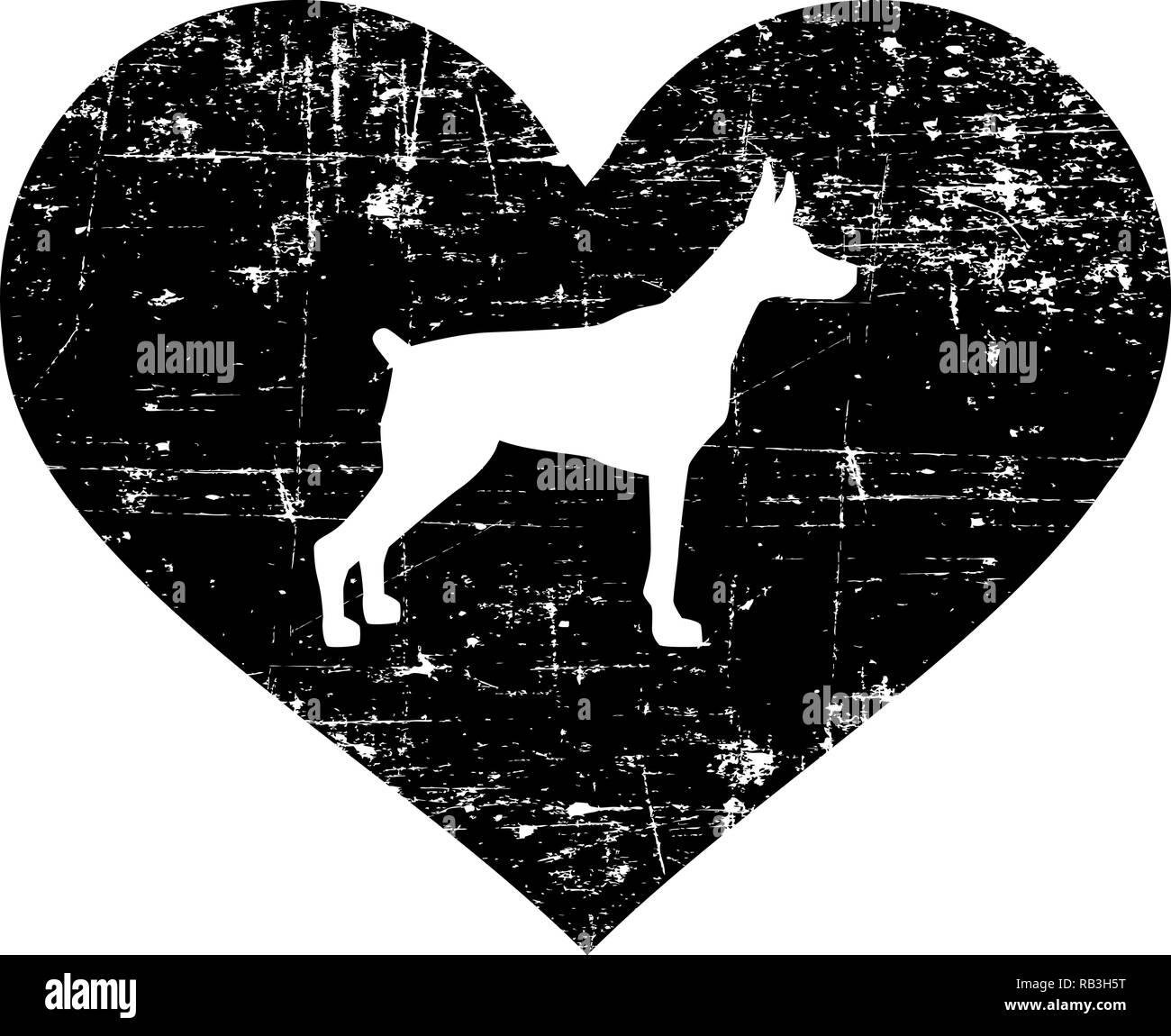 Doberman silhouette in black heart - Stock Image