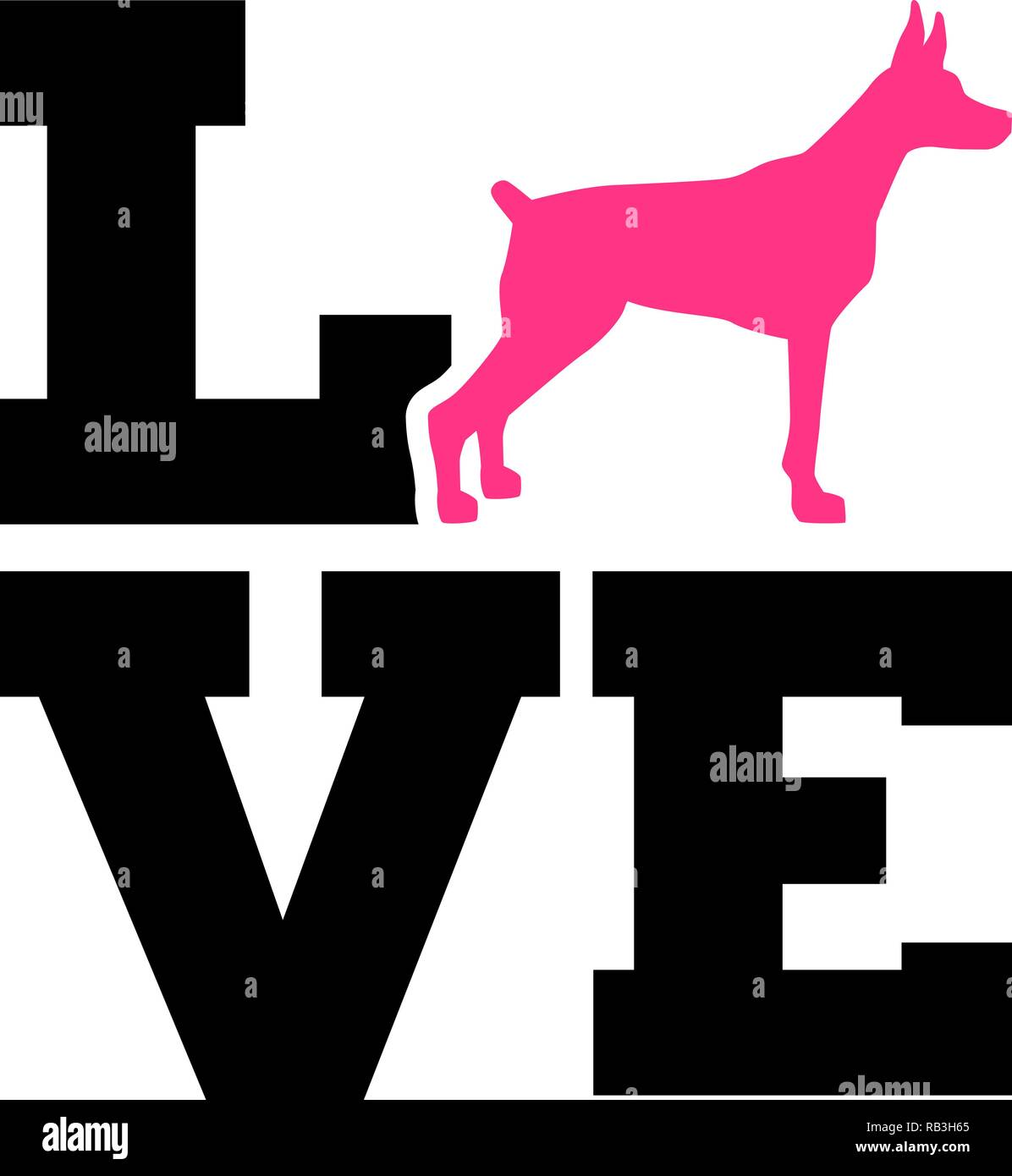 Doberman Love with pink silhouette - Stock Image