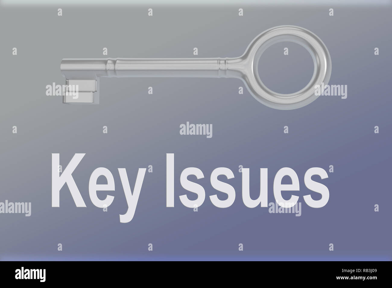 3D illustration of Key Issues script bellow a silver key, over a blue gradient background. - Stock Image