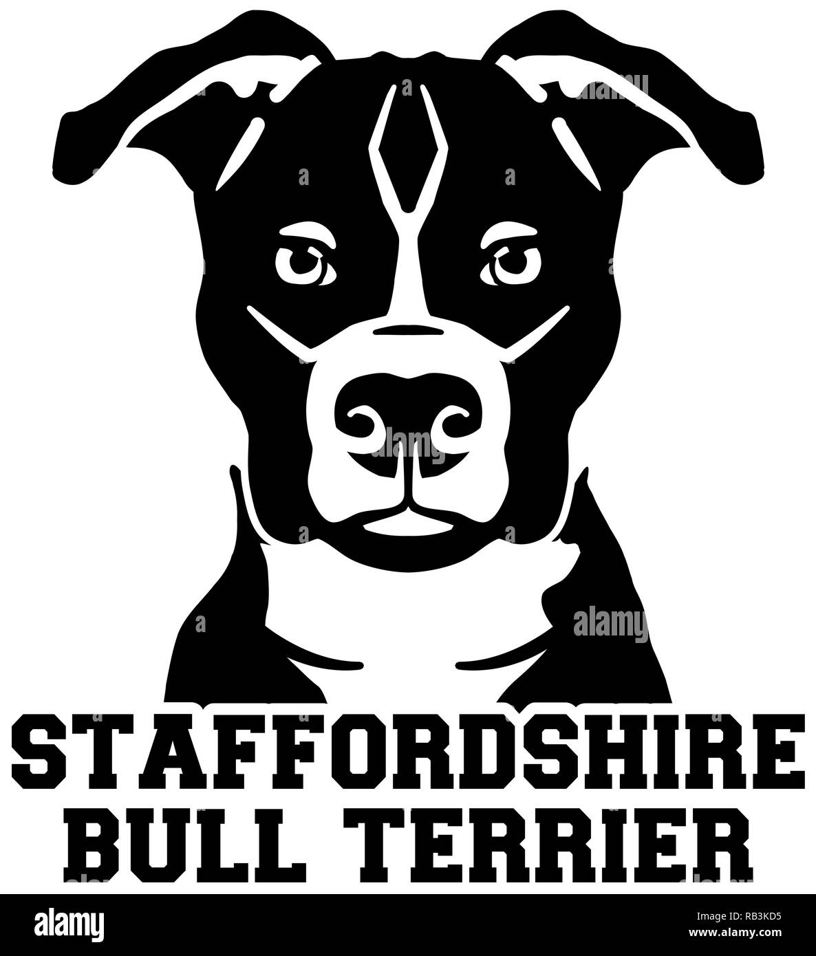 Staffordshire Bull Terrier head black with name - Stock Image