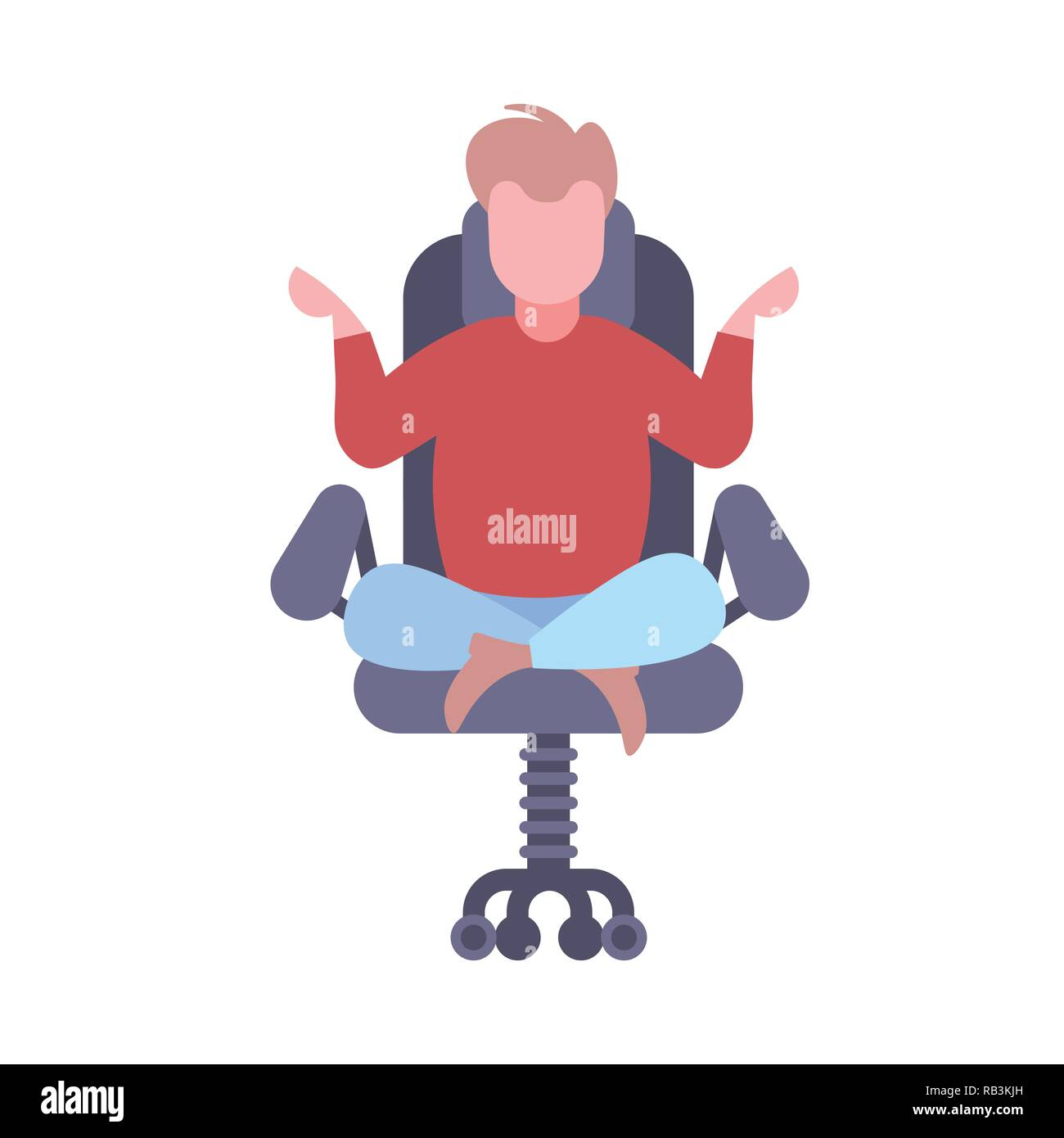 Businessman Sitting Lotus Pose In Office Chair Calm Business Man Relaxing Meditation Working Stress Relief Concept Male Cartoon Character Flat Isolated Stock Vector Image Art Alamy