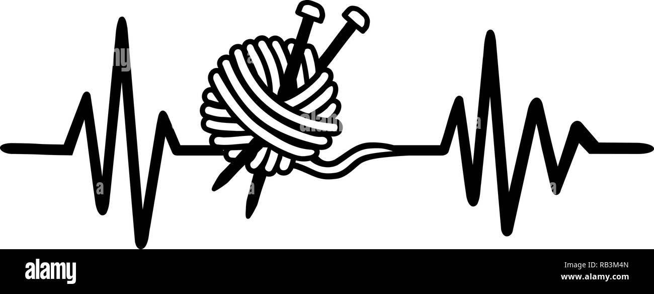 Heartbeat pulse line knitting with wool and knitting needle - Stock Vector