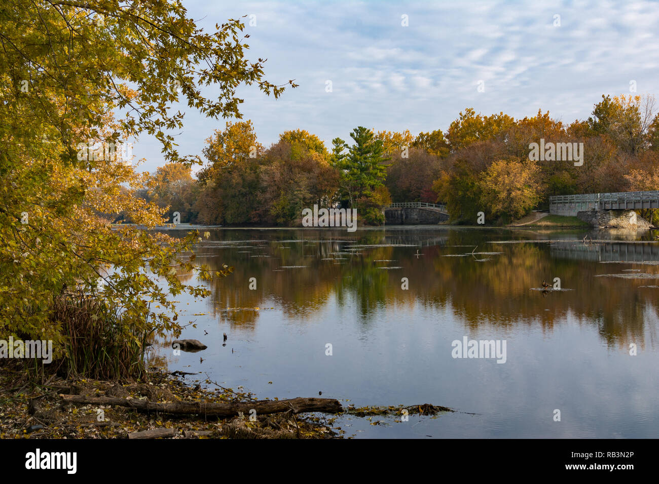 Autumn on the Dupage River in Channahon, Illinois, USA - Stock Image