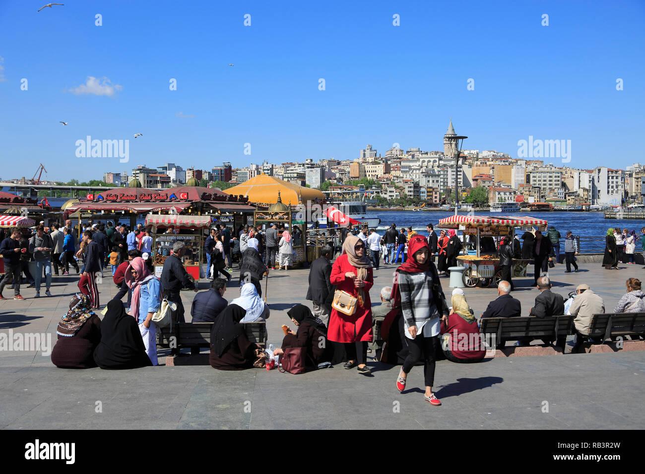 Eminonu, Old City, Golden Horn, Bosphorus, Istanbul, Turkey, Europe - Stock Image