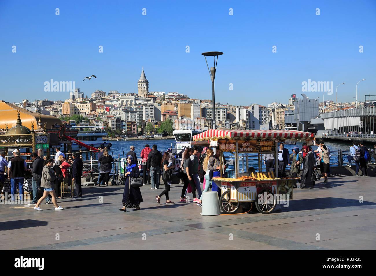 Eminonu, Galata Tower, Golden Horn, Bosphorus, Istanbul, Turkey, Europe - Stock Image