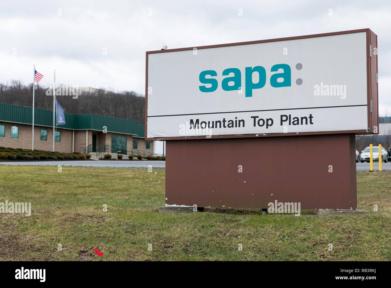 A logo sign outside of a facility occupied by Sapa Extrusions in Mountain Top, Pennsylvania, on December 29, 2018. - Stock Image