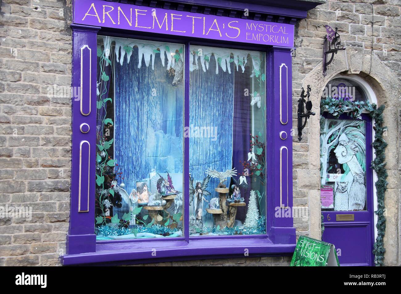 Arnemetia's Mystical Emporium in Buxton - Stock Image