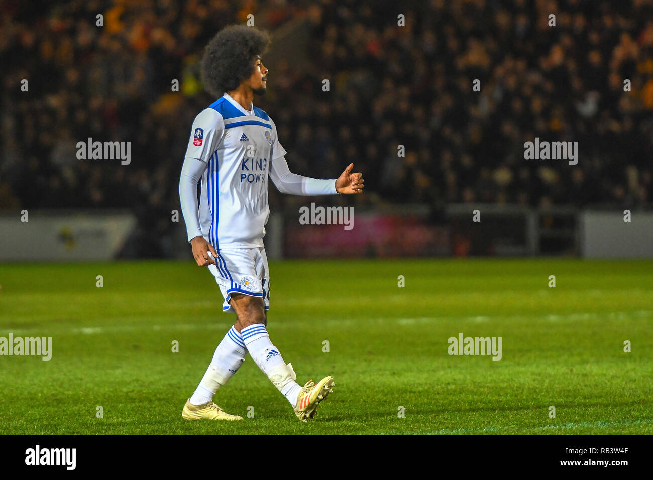 6th January 2019, Rodney Parade, Newport, Wales ; The Emirates FA Cup, 3rd Round, Newport County vs Leicester City : Hamza Choudhury (38) of Leicester City     Credit: Gareth Dalley/News Images    English Football League images are subject to DataCo Licence - Stock Image
