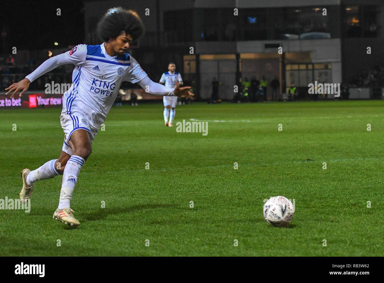 6th January 2019, Rodney Parade, Newport, Wales ; The Emirates FA Cup, 3rd Round, Newport County vs Leicester City : Hamza Choudhury (38) of Leicester City crossing the ball    Credit: Gareth Dalley/News Images    English Football League images are subject to DataCo Licence - Stock Image
