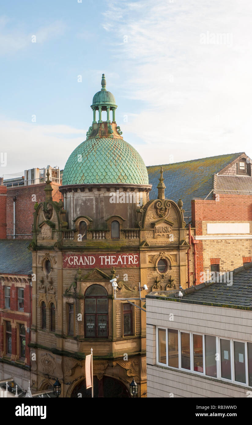 View of Dome and upper levels of the Grand Theatre Blackpool  It has been called The National Theatre of Variety and is a Grade ll listed building - Stock Image