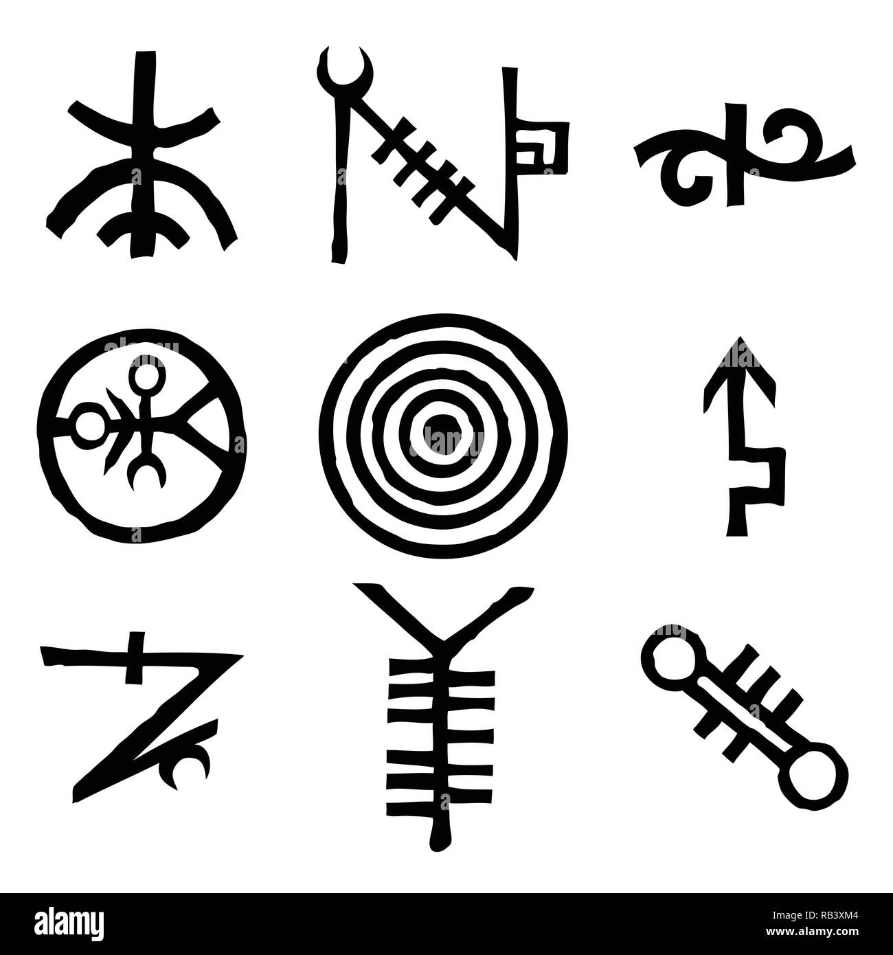 Set of icons and symbols letters inspired on the theme of