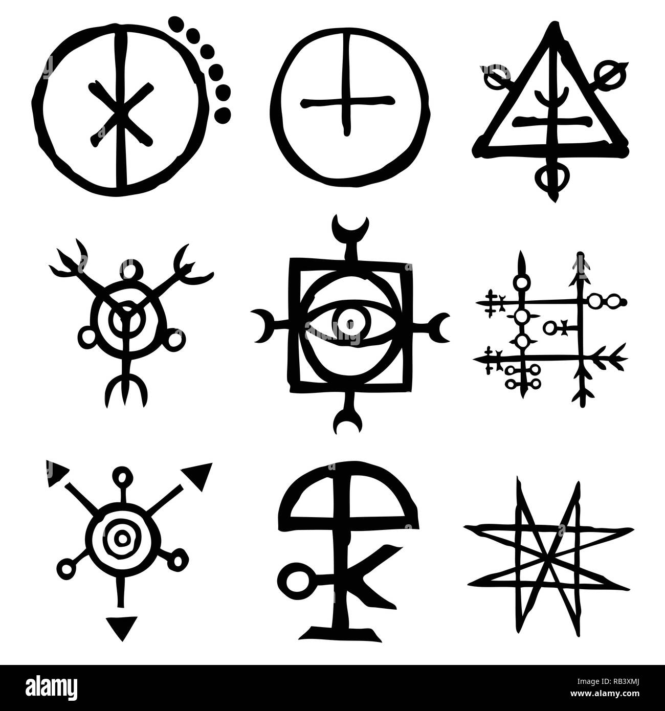 Set Of Old Norse Scandinavian Runes Imaginary Version