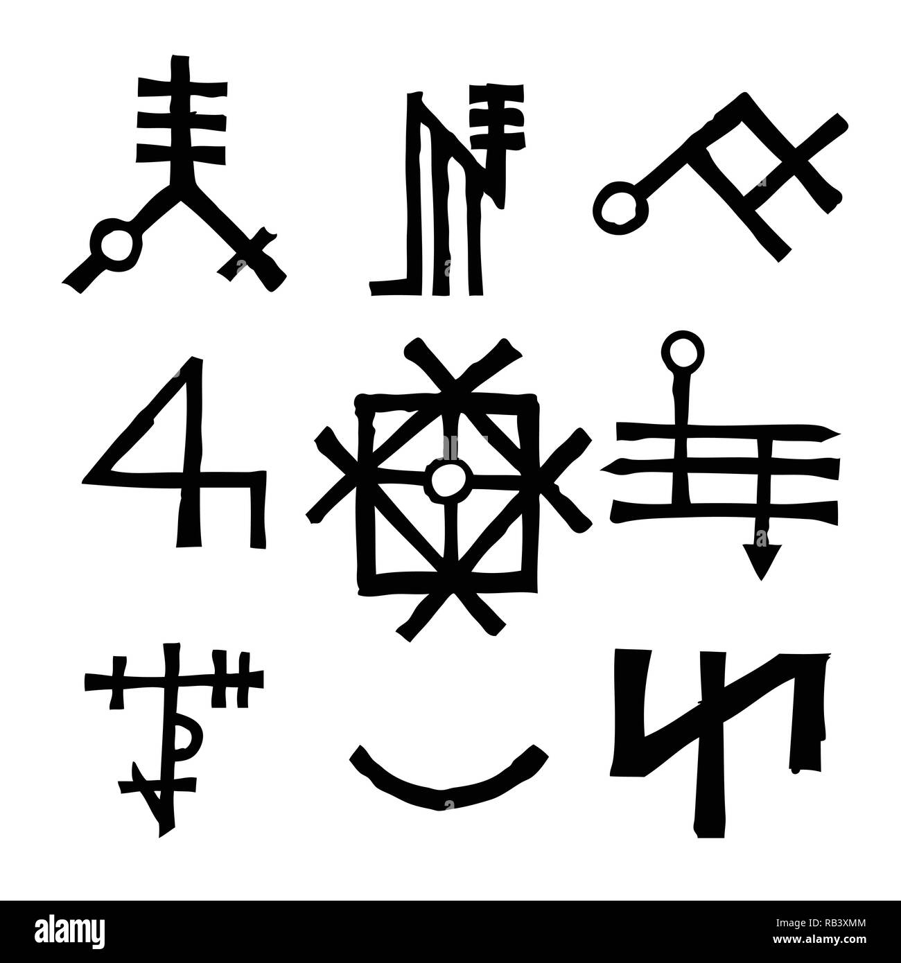 Set of Old Norse Scandinavian runes imaginary version. Runic alphabet symbols, futhark. Inspired by ancient occult symbols, vikings letters and runes. - Stock Image