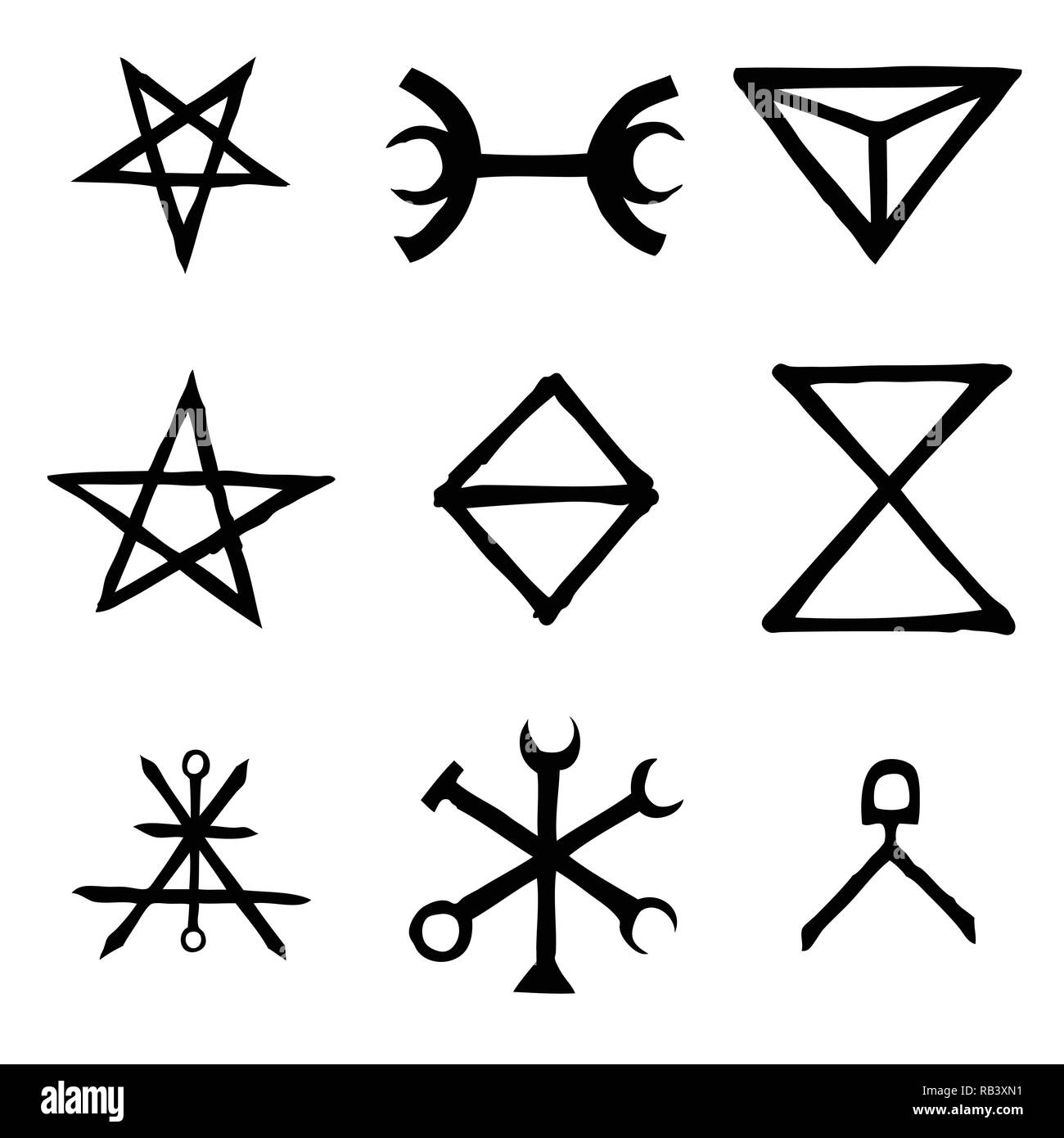 Wiccan Symbols Imaginary Cross Symbols Inspired By Antichrist Pentagram And Witchcraft Vector Stock Vector Image Art Alamy