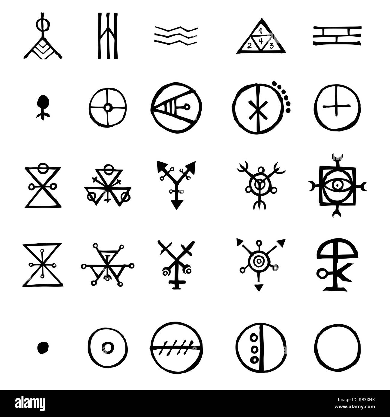 Set of alchemical symbols isolated on white background. Hand drawn and written elements for signs design. Inspiration by mystical, esoteric, occult th - Stock Image