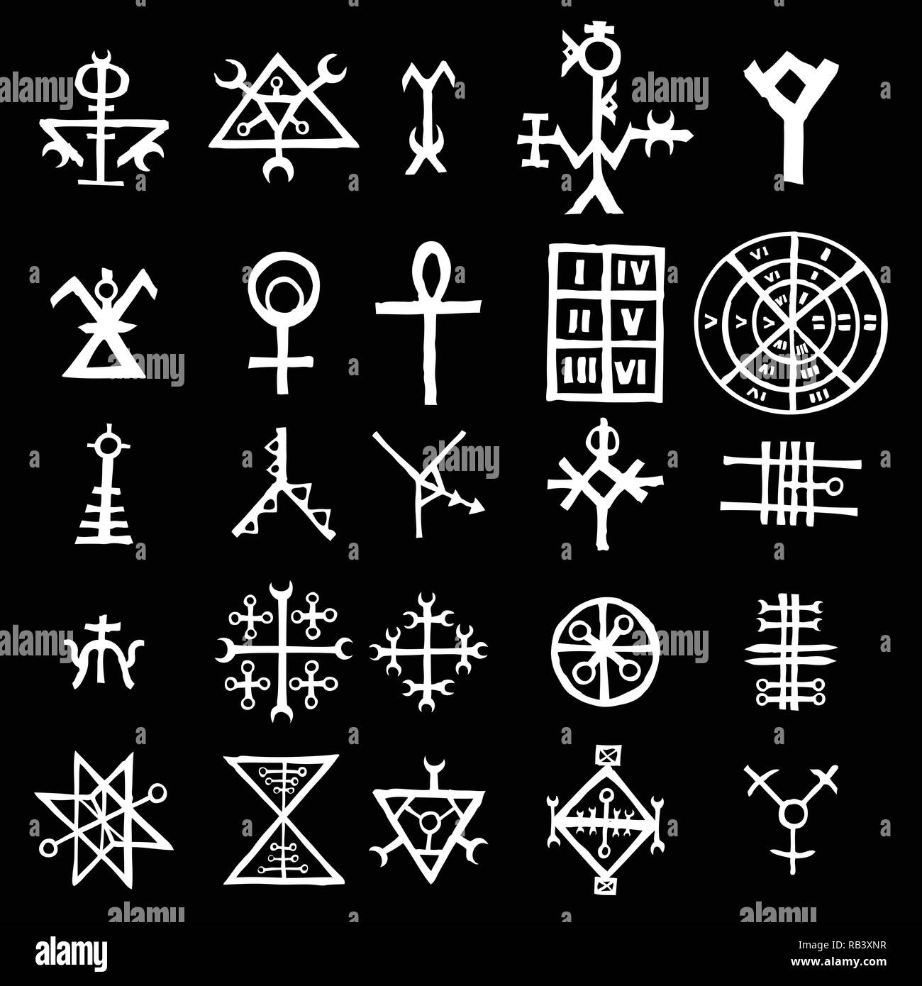 Wiccan symbols imaginary cross symbols, inspired by antichrist pentagram and witchcraft. Vector. - Stock Vector