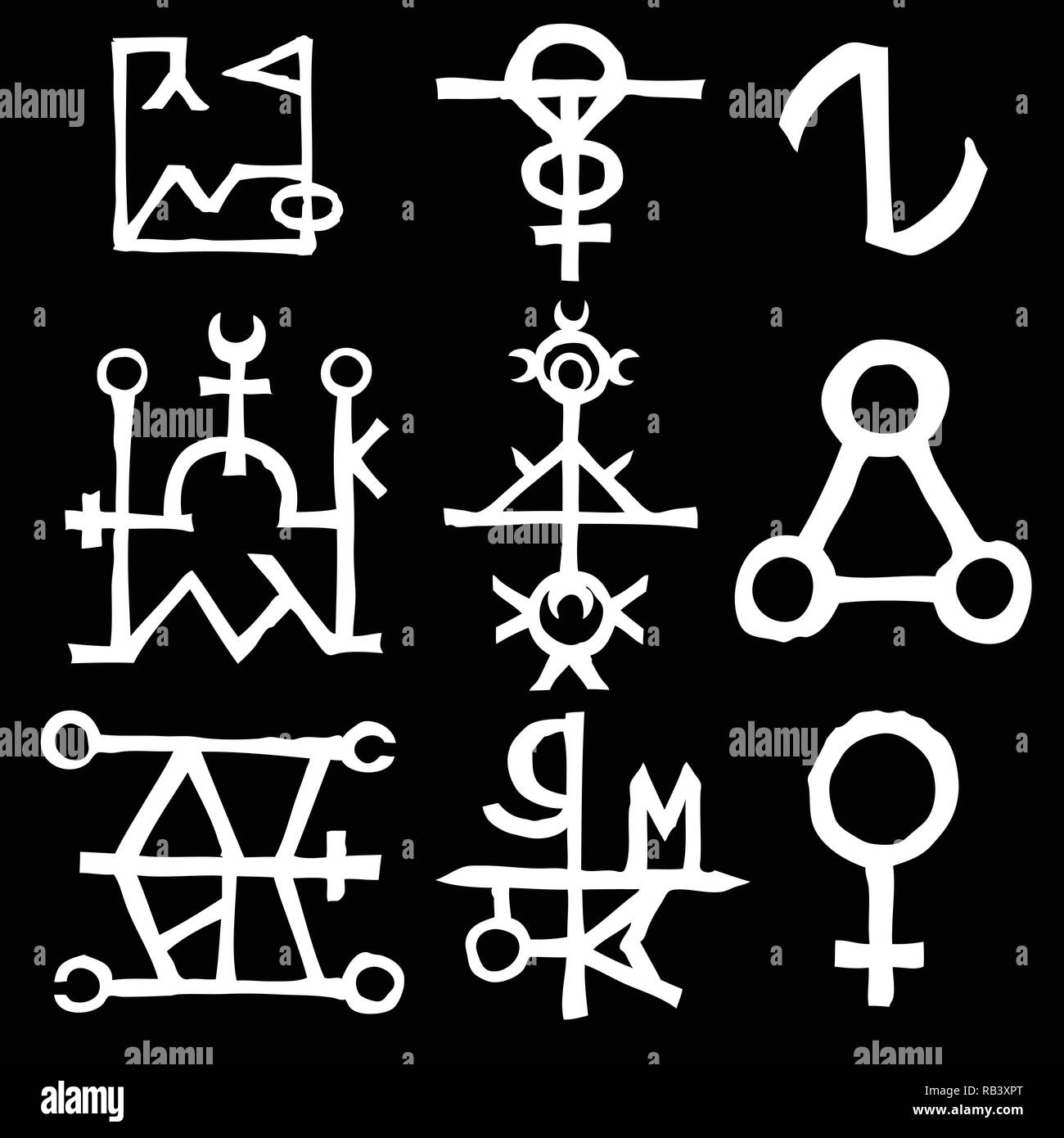 Wiccan symbols imaginary cross symbols, inspired by antichrist pentagram and witchcraft. Vector. - Stock Image