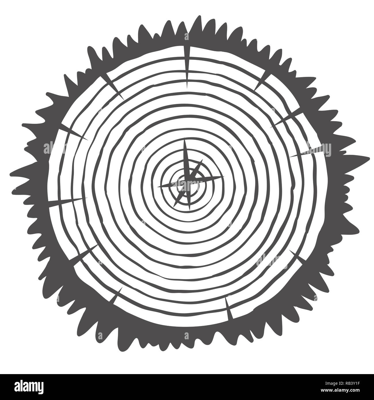 Conceptual background with tree-rings. Vector graphics - Stock Image