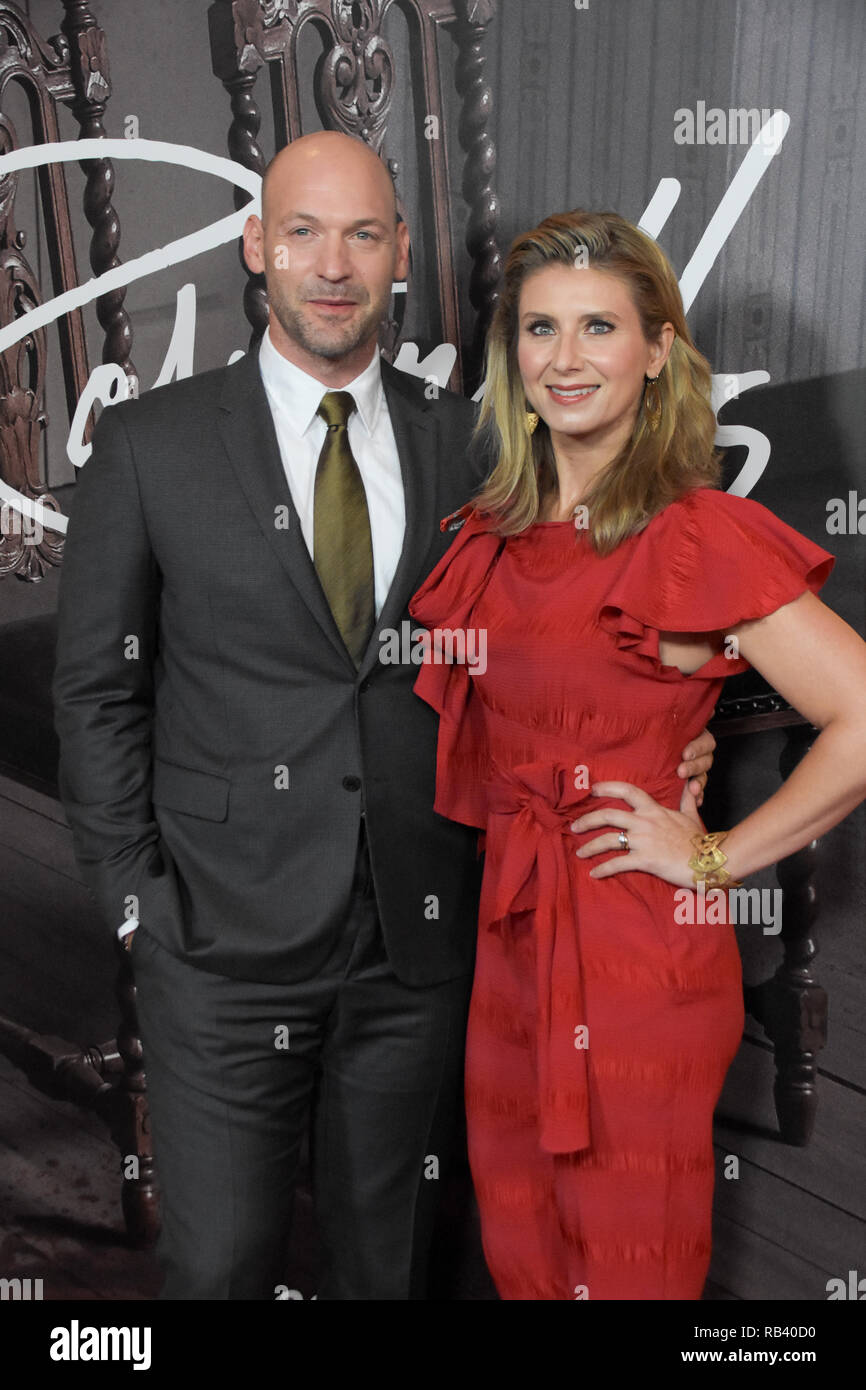 NEW YORK - OCT 11: Actor Corey Stoll (L) and Nadia Bowers attend the premiere of Amazon Prime Video web TV series 'The Romanoffs' at the Russian Tea R - Stock Image