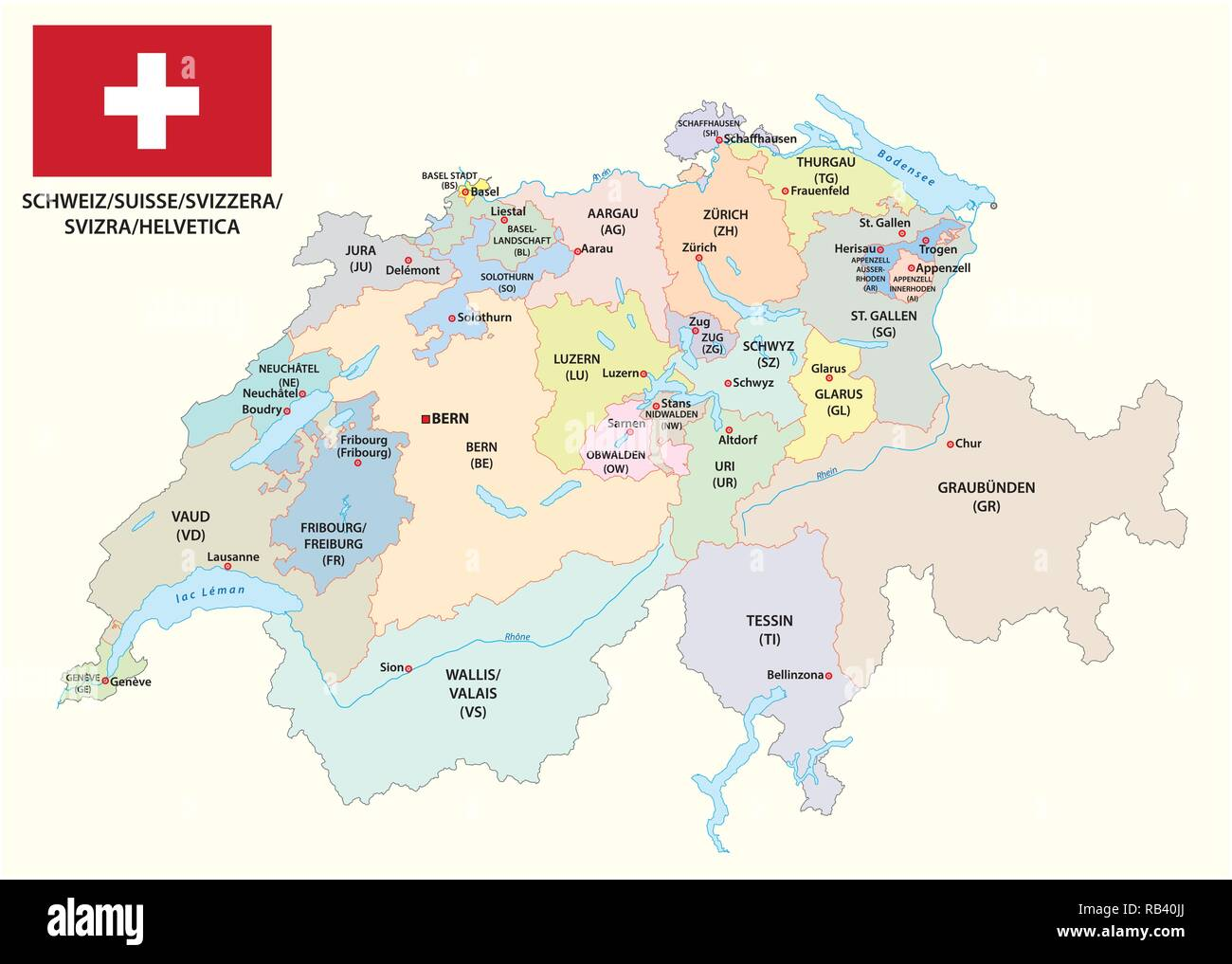 administrative and political vector map of switzerland with flag - Stock Vector