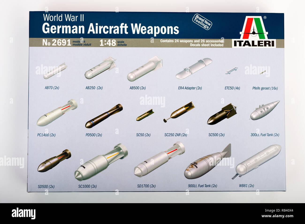 Italeri plastic model World War Two German aircraft bombs - Stock Image
