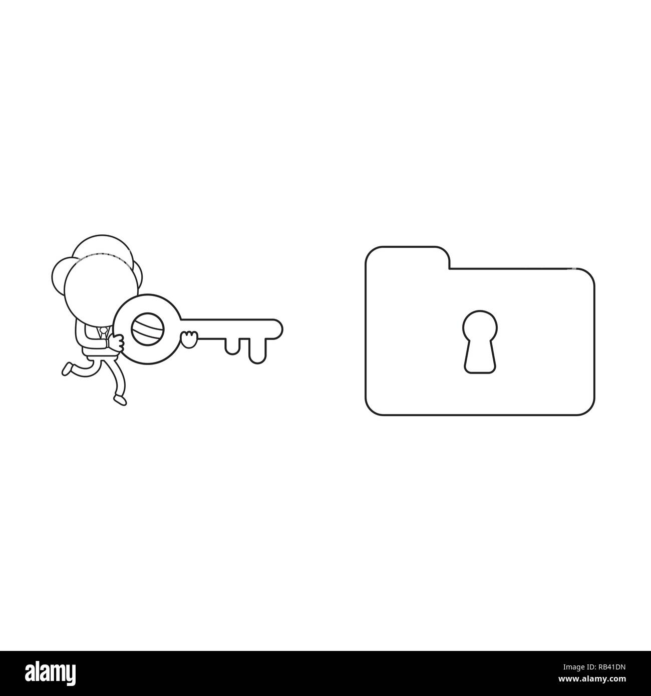 Vector illustration concept of businessman character running and carrying keyhole to lock or unlock file folder. Black outline. - Stock Image