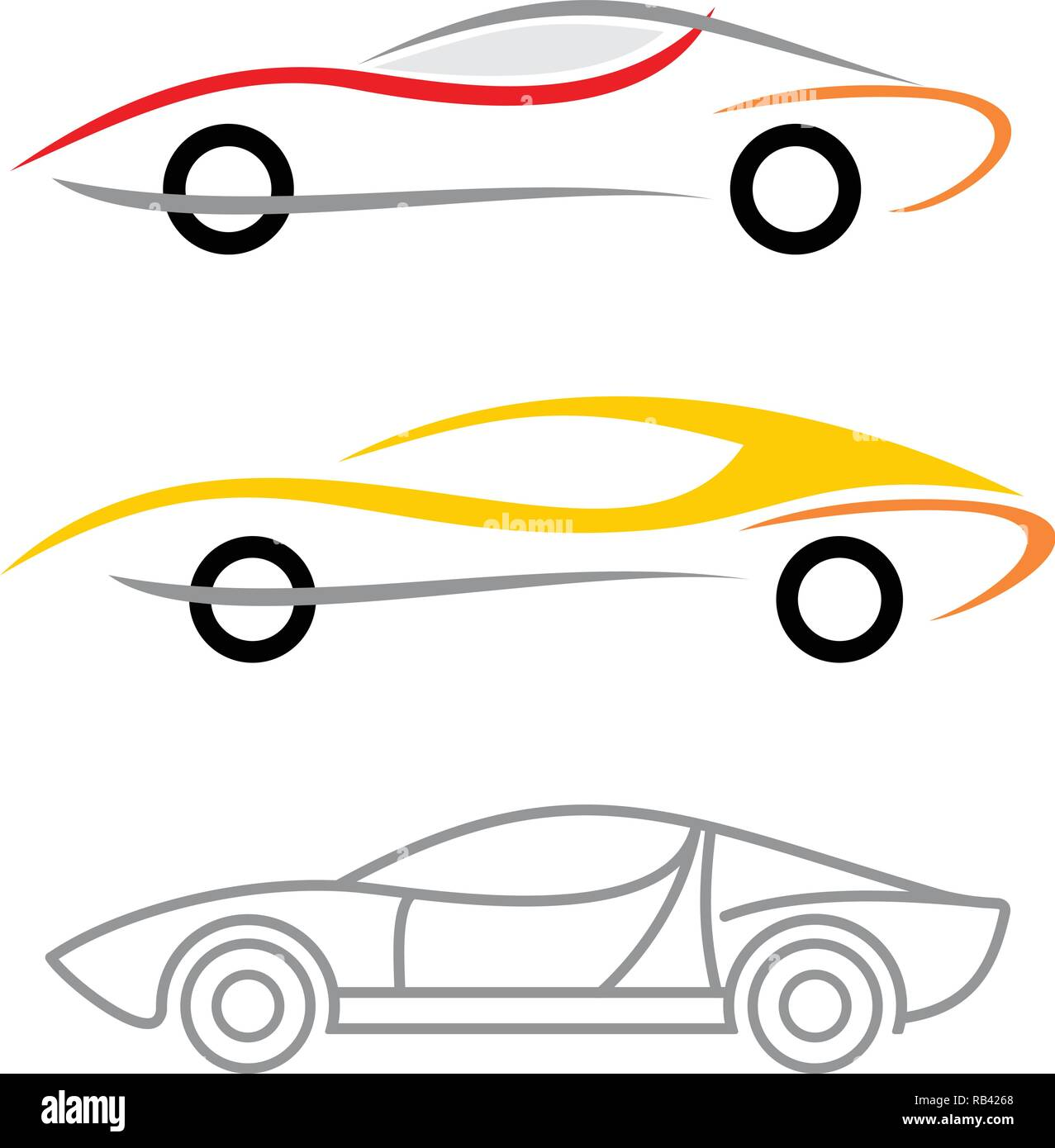 Three variants of modern car logo. Vector icons isolated on a white background. Stock Vector
