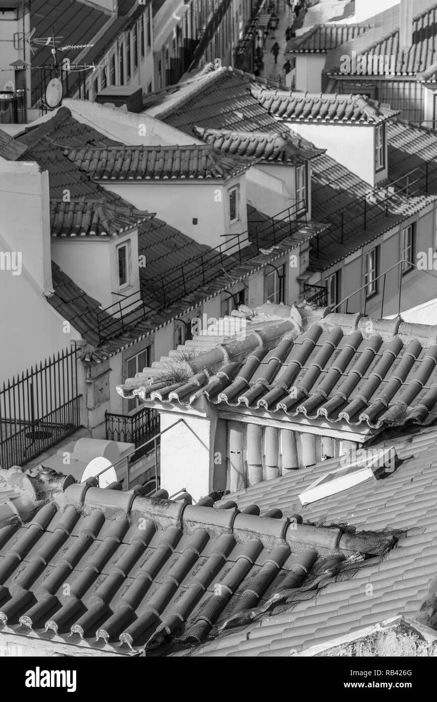 Black and white photo of Lisbon roofs. Aerial view. - Stock Image