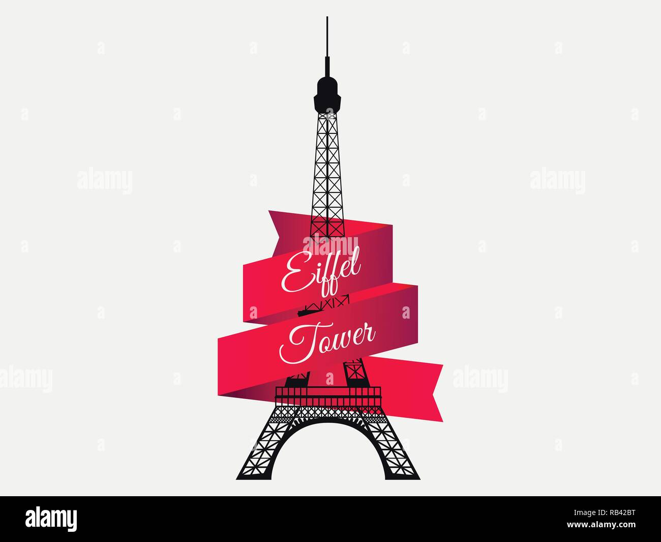 Eiffel Tower with ribbon. The symbol of France, a landmark of Paris. Vector illustration - Stock Vector