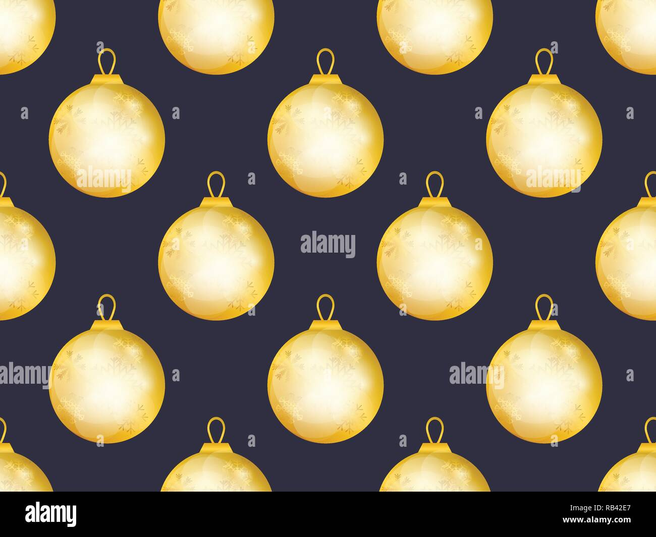 Gold christmas balls seamless pattern  Bokeh effect  Greeting card