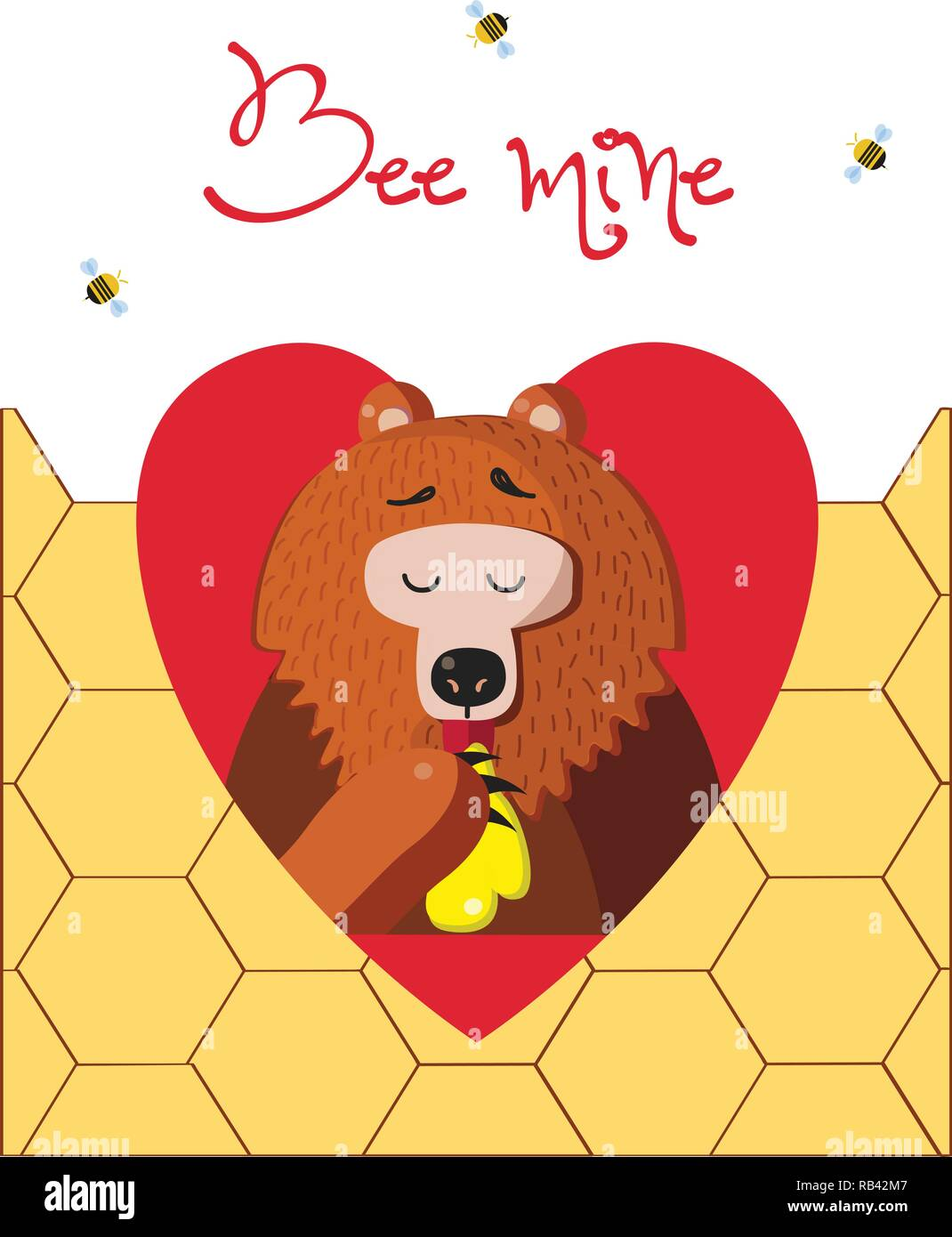Bee mine valentine greeting card of cute cartoon bear vector illustration character eating honey inside of red heart and bees around on honeycomb back - Stock Vector