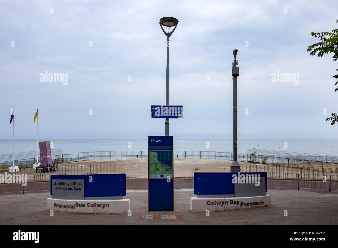 Colwyn Bay with the former location of the demolished Victoria Pier Colwyn Wales UK - Stock Image