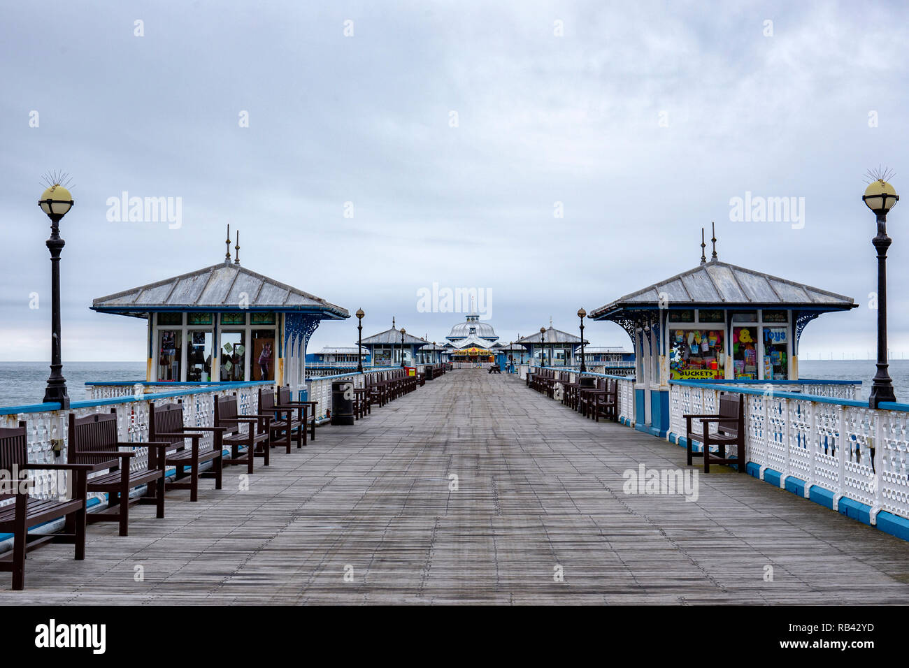 Deserted pier in Llandudno Wales UK - Stock Image