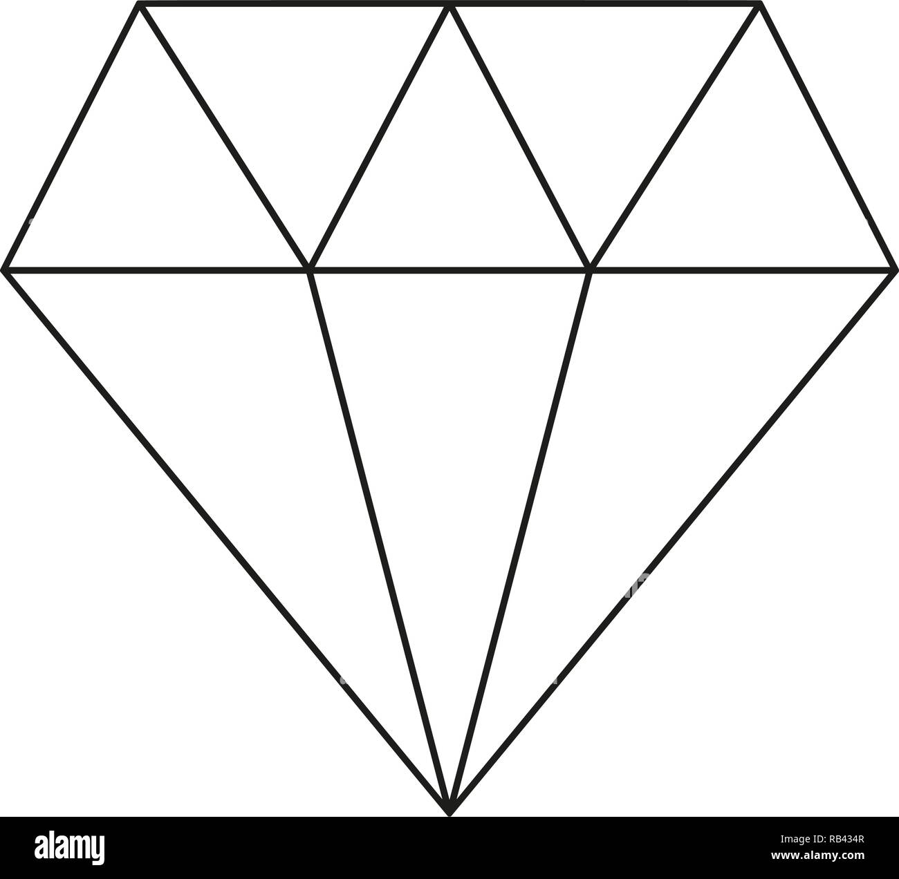 Line art black and white diamond - Stock Image