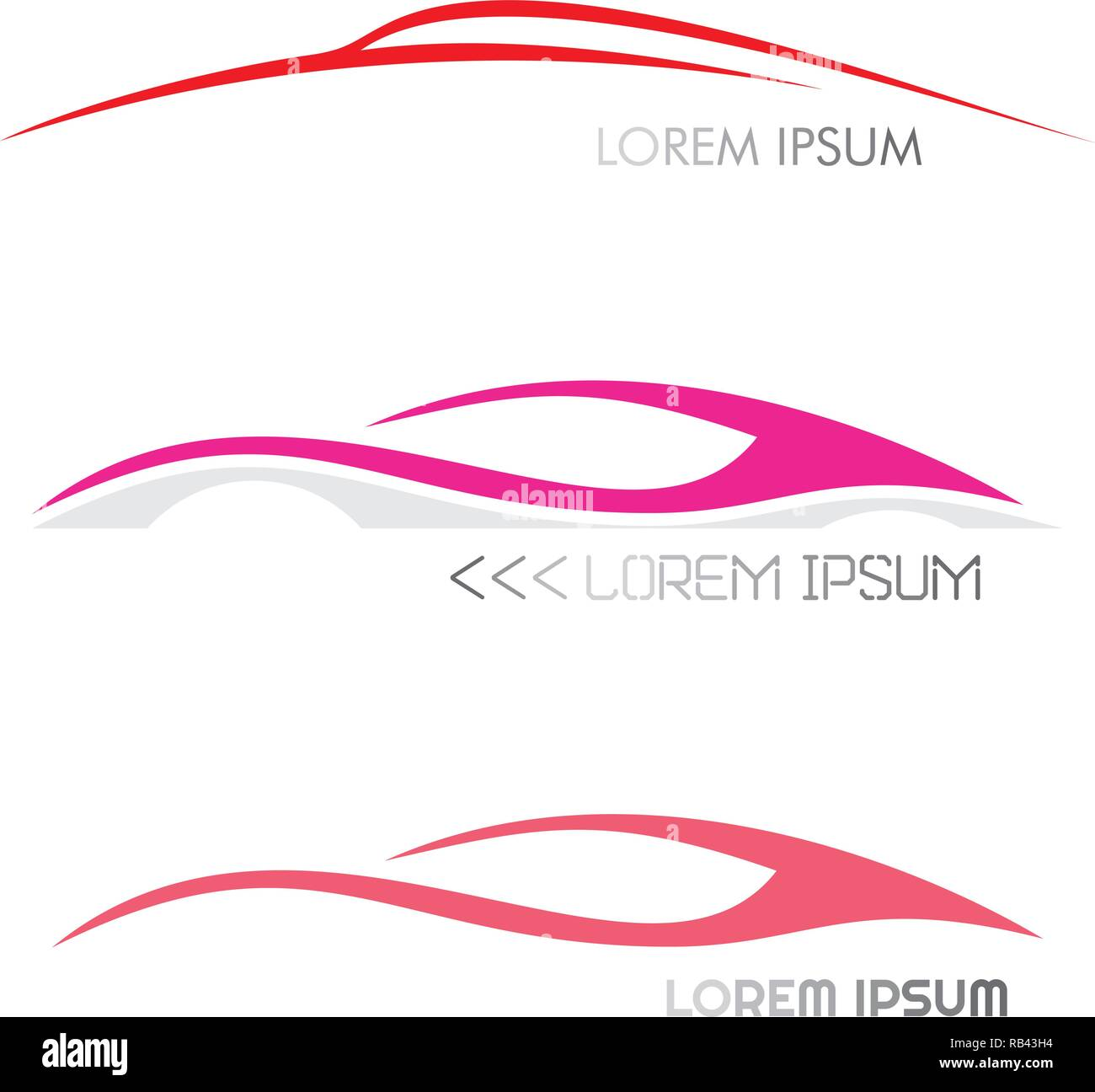 Three variants of modern car logo. Moving car images. Vector icons isolated on a white background. Stock Vector