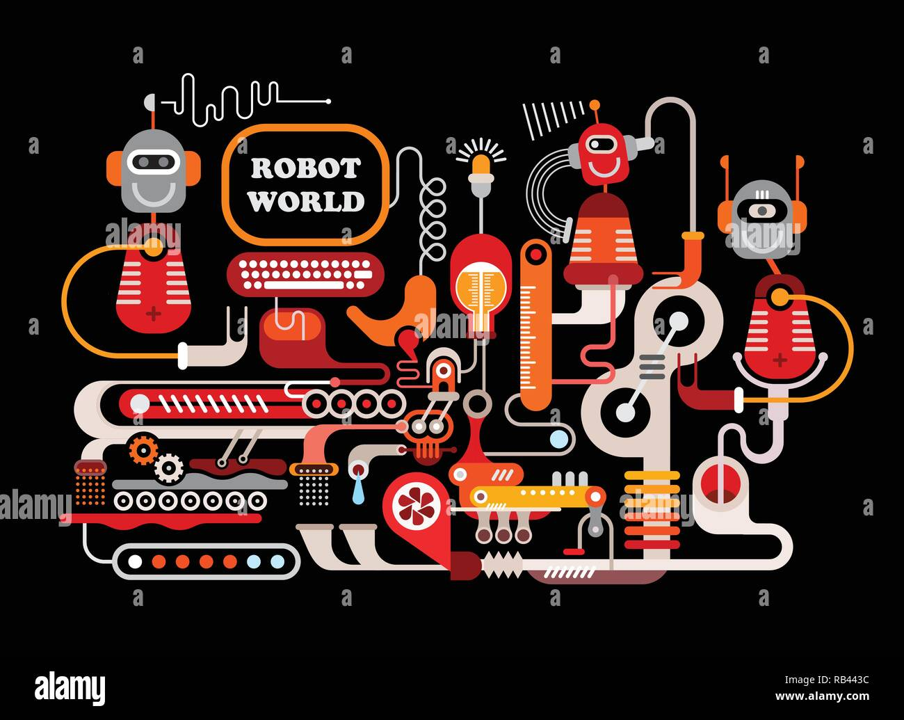 Robot World. Manufacturing robots vector illustration isolated on a black background.  Welcome to the future, were funny robots will do all the boring Stock Vector