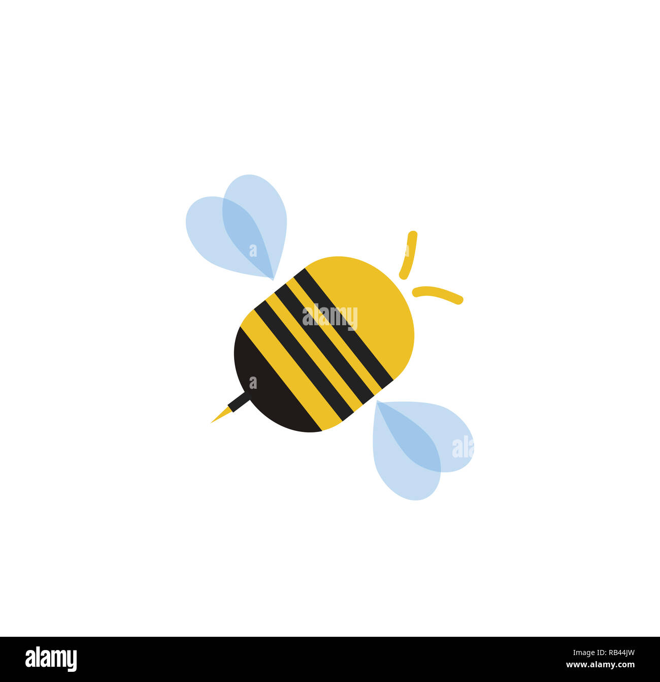 Flying cartoon bee isolated on white background.  illustration clip art, logo, icon for graphic design, greeting card. - Stock Image