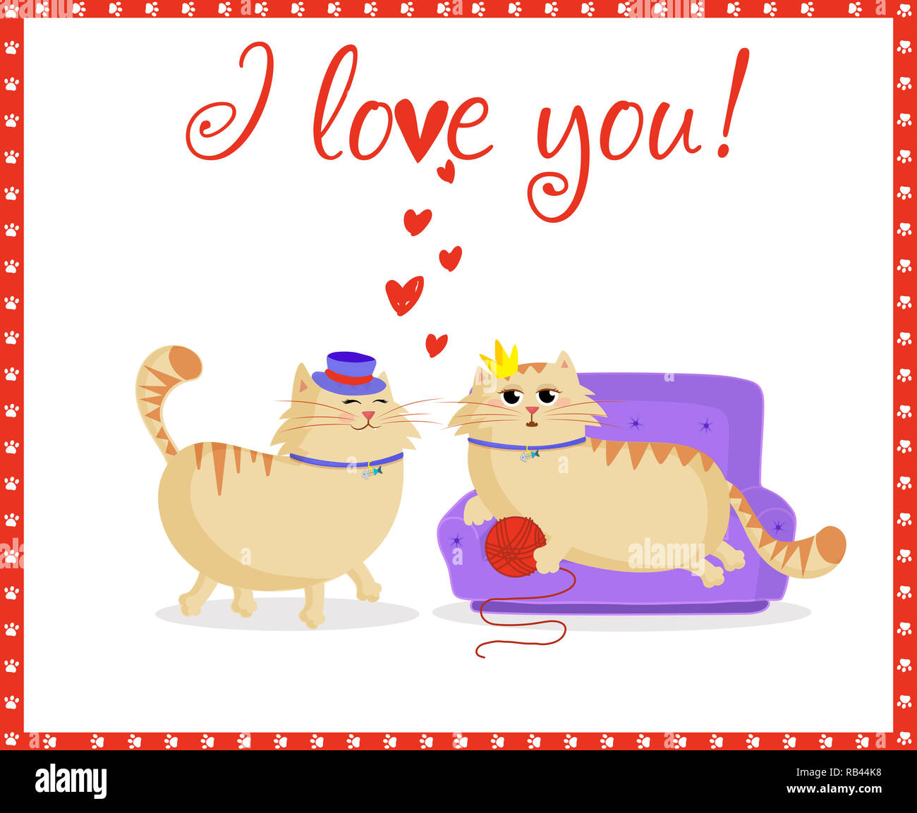 1a1f6f95f6e I love you greeting card with cute cartoon cats couple boy and girl in love.