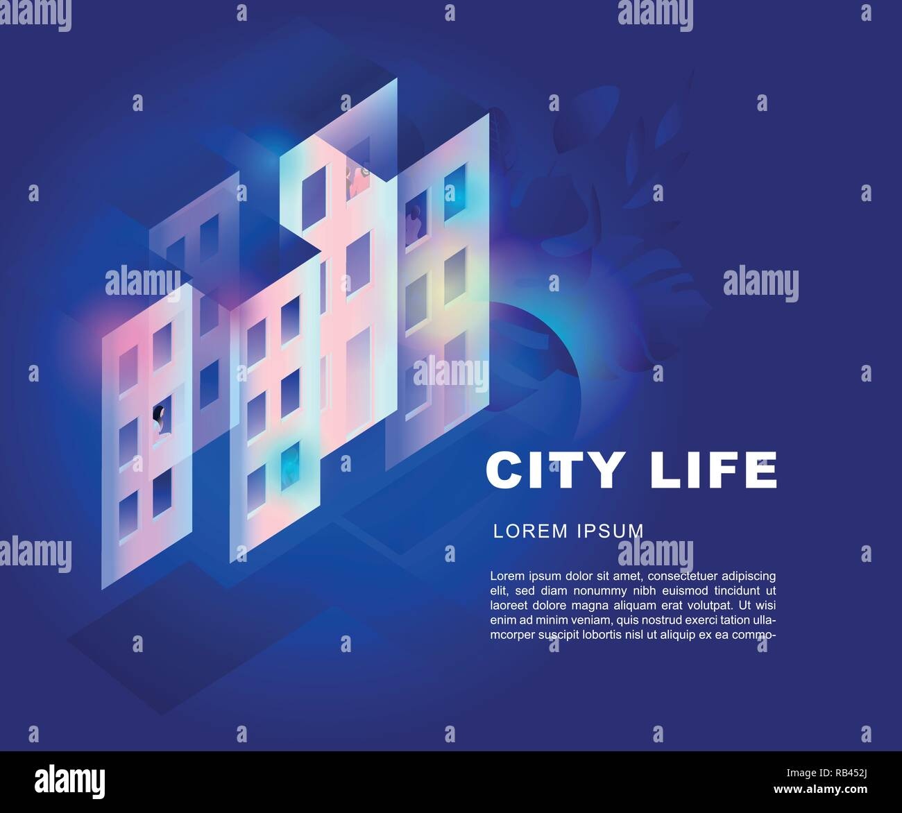 Isometric illustration of cite. Vector EPS10. 3d. city life background - Stock Vector