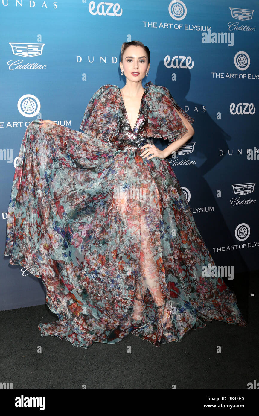 Los Angeles, California, USA. 5th Jan, 2019. LILY COLLINS at the Art of Elysium 12th Annual HEAVEN Celebration at a Private Location in Los Angeles. Credit: Kay Blake/ZUMA Wire/Alamy Live News - Stock Image